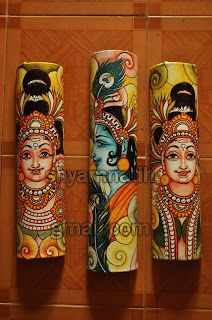 Fantastic Painted Wall Carving On Wood On Canvas Folk Art and Artist Shyamnadh Kalamkari Painting, Madhubani Painting, Pichwai Paintings, Indian Art Paintings, Pottery Painting, Fabric Painting, Kerala Mural Painting, Bamboo Art, Madhubani Art
