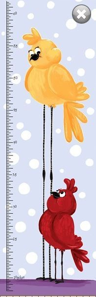 Meet The Bird Height Chart * Cotton Fabric Panel for Sewing * Quilting *