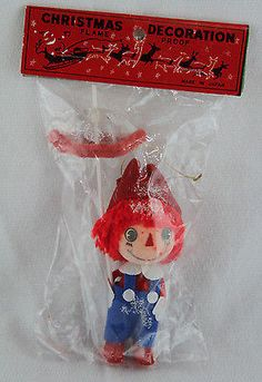 "Vintage Raggedy Ann & Andy Christmas Ornament ""Andy with Umbrella"" Made in Japan"