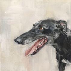 """Greyhound by Julie Brunn oil on canvas 6""""x6"""""""
