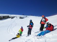 Campers learning how to drop a cliff in Gressoney