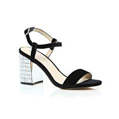 Black velvet gem encrusted statement heels by River Island