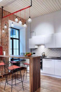 Banquetas com encosto vazado na cozinha decorada