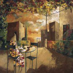 "35""x35"" CAFE AL JARDI by DIDIER LOURENCO ON TERRACE CANVAS #Impressionism"