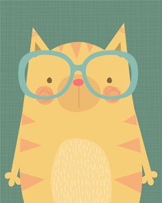 Cute Cat wearing Glasses Illustration - Giclee Art print by Lamai by lamaianne, Etsy $25.00