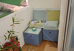 nice storage idea with siting possibility for small balcony