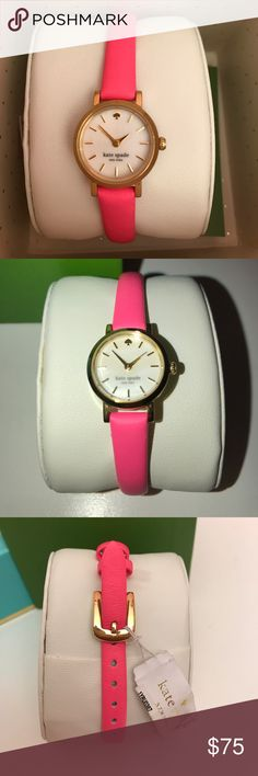 Kate Spade watch NIB. Kate Spade Tiny Metro New York woman's watch features a 20mm wide and 7mm thick yellow gold plated solid stainless steel case with a fixed bezel and textured push-pull crown. Kate Spade is powered by an accurate Japanese quartz movement. Kate Spade is equipped with a 9mm wide genuine pink leather strap with a buckle clasp. kate spade Accessories Watches