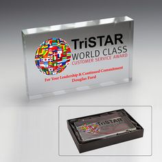 Keep a well-deserved recognition right on your desk with this stunning glass award paperweight! A budget-friendly way to award the very best in your organization, this glass award is heavy enough to hold down paper. With a custom imprint of your logo, company name, or advertising message, it is sure to stand out from the crowd. Celebrate a variety of accolades, including employee milestones, academic honors to client appreciation gifts!