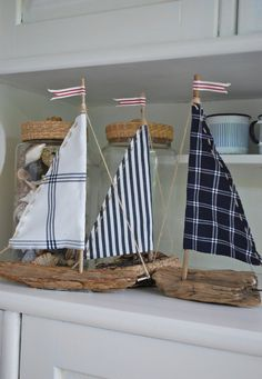 driftwood boats..love the different fabrics