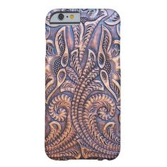 Gold and Brown Floral Tooled Faux Leather Look Barely There iPhone 6 Case