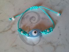 light blue porcelain evil eye bracelet turquoise cord sp bead tinas creations…