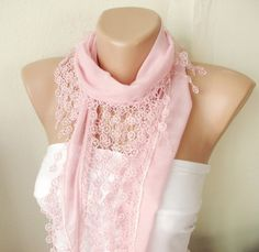 Light pink pastel pink Cotton Scarf with Circle Lace $15.00