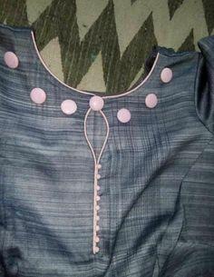 30 Stylish Potli button neck designs for kurtis and salwar suits Churidhar Neck Designs, Churidhar Designs, Neck Designs For Suits, Sleeves Designs For Dresses, Neckline Designs, Dress Neck Designs, Sleeve Designs, Kurti Back Neck Designs, Salwar Designs