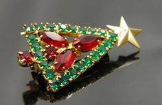 Beautifully Crafted Vintage Red Marquis And Green Rhinestone Christmas Tree Pin Christmas Tree Dress, Jewelry Christmas Tree, Christmas Frames, Jewelry Tree, Christmas Nativity, Noel Christmas, Xmas Tree, Vintage Christmas, Christmas Glitter