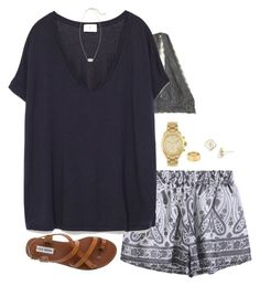 """""""ootd + brandy shorts:)"""" by keswenson ❤ liked on Polyvore featuring Free People, Michael Kors, Zara, Steve Madden, Kendra Scott and Cartier"""