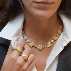 Diamond Pendant Necklace, Necklace Set, Diamond Necklaces, Sapphire Jewelry, Bulgari Jewelry, Sapphire Necklace, Diamond Jewellery, Yellow Necklace, Glamour