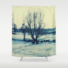 Winter  - JUSTART © Shower Curtain by JUSTART - $68.00 #justart #society6 #showercurtain #home #decor #bathroom #tree #landscape #cows #animal#blue #green #yellow