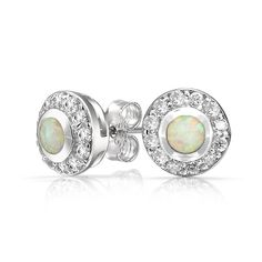 CZ Circlet Round White Opal Inlay Stud Earrings 925 Sterling Silver