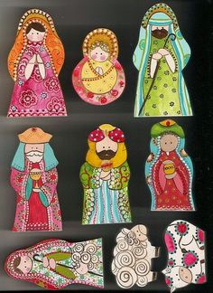 gorgeous beautiful painted wooden nativity scene of Christ in happy colors, would be perfect for a child's room Christmas Is Coming, Christmas Holidays, Christmas Decorations, Christmas Ornaments, Christmas Bells, Felt Ornaments, Christmas Nativity Scene, Christmas Wood, Nativity Scenes