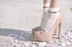 crochet ankle socks and heels