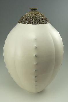"""Simon van der Ven  Making objects for warmth, light, and nourishment - Durian Jar, Porcelain, 18"""" tall, $1,200"""