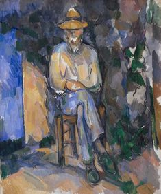 Paul Cézanne [FrenchPost-ImpressionistPainter, 1839-1906] The Gardener Vallier, c. 1906, oil on canvas,654 x 549mm.  Vallier was the gardener at Cézanne's house near Aix-en-Provence. This is one of six portraits of him, and probably painted in the summer/autumn of 1906, not long before Cézanne's death.