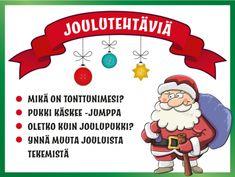 Joulutehtäviä -sivulla on tekemistä mm. pikkujoulukauden juhliin ja ryhmiin