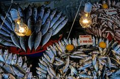 Fresh fish for sale at the Grand Bazaar, one of the largest and oldest covered markets in the world, Istanbul, Turkey