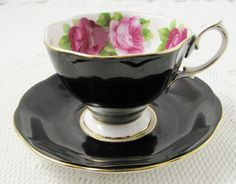 Royal Albert Black Tea Cup and Saucer Old English Rose, Pink Roses, Vintage Bone China