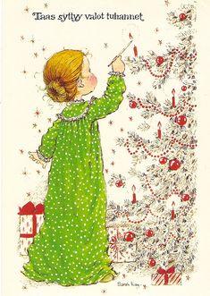 ❤️Vintage Postcard ~ Sarah Kay ~ girl and christmas tree