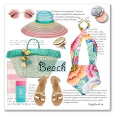 """""""Pastel Beach"""" by angelicallxx ❤ liked on Polyvore featuring Linum Home Textiles, Mara Hoffman, Missoni, Kayu, Ancient Greek Sandals, Gucci, COOLA Suncare, Bobbi Brown Cosmetics and beachday"""