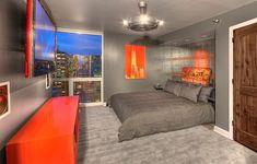 teenagerzimmer ideen grauer Teppichboden und futuristische Pendelleuchte