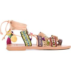 Mabu 'Alkidameia' boho sandals ($158) ❤ liked on Polyvore featuring shoes, sandals, colorful sandals, boho shoes, leather sandals, leather shoes and boho sandals
