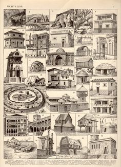 Primitive Architecture 1897 Antique Print Vintage by Craftissimo, €12.00