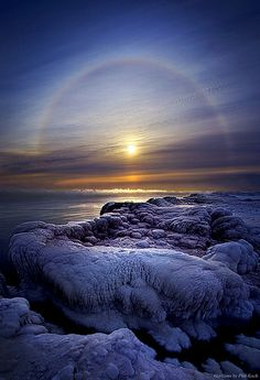 """Somewhere Over the Halo"" HDR of Wisconsin Polar Vortex shot with Canon and Canon lens. Minus 25 degrees while shooting this at the edge of Lake Michigan. Wisconsin Horizons by Phil Koch. Lives in Milwaukee, Wisconsin, USA. Beautiful Sunset, Beautiful World, Beautiful Places, Amazing Photography, Landscape Photography, Nature Photography, All Nature, Amazing Nature, Cool Pictures"