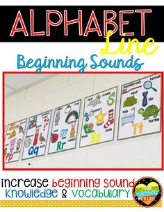 Help your kindergarten and 1st grade students practice the alphabet with this colorful alphabet line! Perfect to display as an anchor chart as reference for students during literacy centers, guided reading groups, word work, and writing workshop. Each letter has 6 corresponding pictures with labels to practice identifying beginning sounds. So it also helps increase students' vocabulary and phonics skills! #fromkindergartenwithlove #kindergarten #1stgrade #alphabetactivities