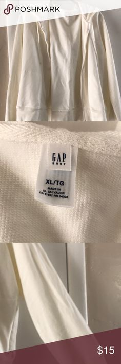 Gap hooded sweatshirt Gap Hooded Sweatshirt cream/white color size XL light sweater material has zip pockets. Reposh item I bought it & it was to small.  Cute it looks like its never been worn so i would say its new with out tags. Please ask all questions up front & please no buyer remorse. Thank you for shopping my closet. GAP Tops Sweatshirts & Hoodies