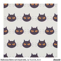 Halloween fabric cat's head with orange eyes