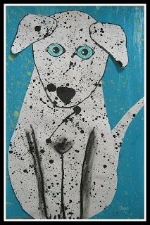 But the favorite project for many was the splattered paint dalmations. The children splattered 2 long sheets of construction paper on day 1....