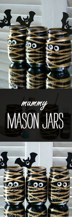 Halloween Craft Idea with Mason Jars: Mummy Mason Jar /iaswp/