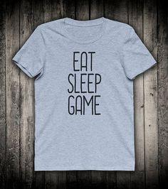 Eat Sleep Game Gamer Slogan Tee Video Gaming Shirt Computer Nerd Geek Clothing