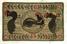 """Rooster Hand Hooked Rug - """"Three Roosters"""". $300.00, via Etsy."""