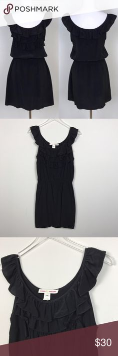 """[Amanda Uprichard] Black Silk Ruffle Mini Dress M Little black silk dress by Amanda Uprichard. Pullover style. Elastic waist. Ruffle detail on chest and sleeves. Sleeveless.  🔹Pit to Pit: 17"""" 🔹Waist: 13"""" flat across (unstretched) 🔹Hips: 19"""" flat across  🔹Length: 34"""" 🔹Condition: Excellent pre-owned condition.  *YY44 Amanda Uprichard Dresses Mini"""