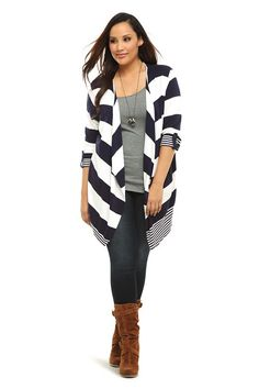 LOVE this Striped Open-Front Ribbed Cardigan—cozy AND chic!