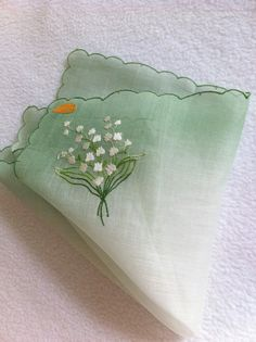 Vintage Swiss Handkerchief Lily of the Valley by LollysCubbyhole, $12.50
