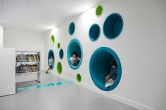 Reading nooks for children in the library at Sheikh Zayed Private Academy