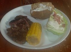 Crockpot Steak Dinner, includes all sides! meal planning, #5dinners1hour, beef, corn, baked potato