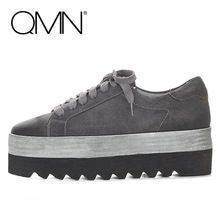 QMN nubuck véritable cuir femmes appartements Femmes Lacent Chaussures Plates Femme Creepers Plate-Forme de Dames Chaussures Zapatos Mujer 35-39(China (Mainland))