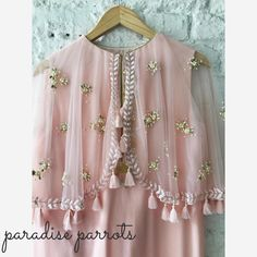 Beautiful blush pink color kurta with net cape. That tassels gives great look to cape. Now Available at Aza . Pakistani Fashion Party Wear, Pakistani Formal Dresses, Indian Party Wear, Pakistani Dress Design, Pakistani Outfits, Indian Dresses, Indian Wear, Indian Outfits, Indian Style