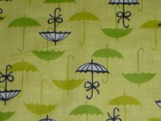 """Vtg Cotton Fabric Yellow w/ Chartreuse Lime Green MOD Umbrellas  36"""" x 3 Yds"""